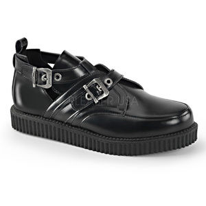 Mens Leather Platform Buckle Punk Creeper Shoes